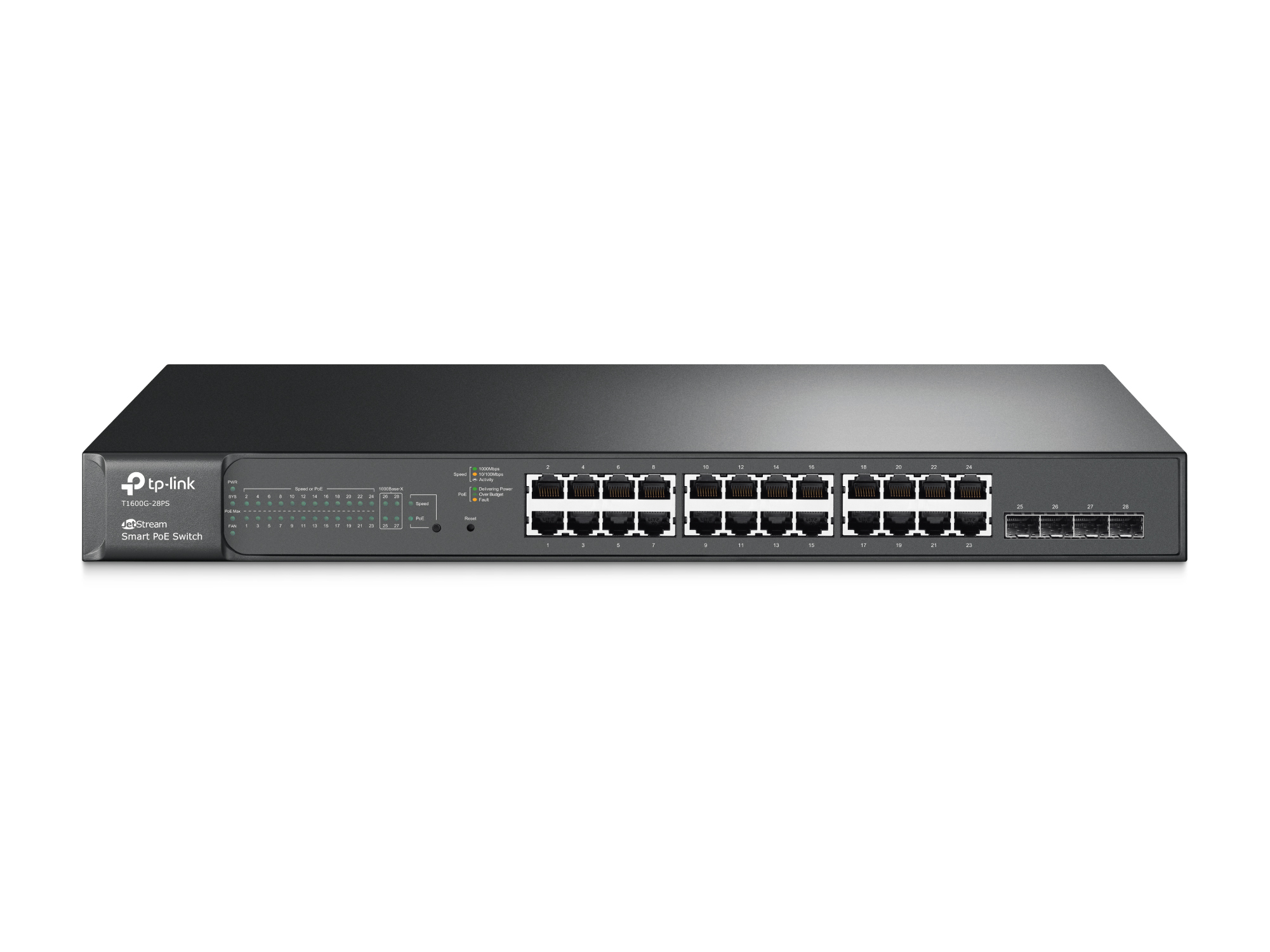 T1600G-28PS (TL-SG2424P) 24xGE PoE+, 4xSFP SMART